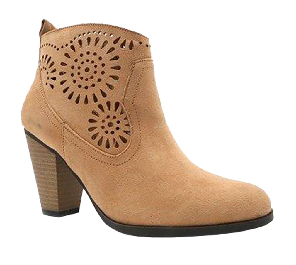Women Cut Out Bootie Lace Up  Slip On High Heel Platform Wedge Ankle Bootie - Toffee/6