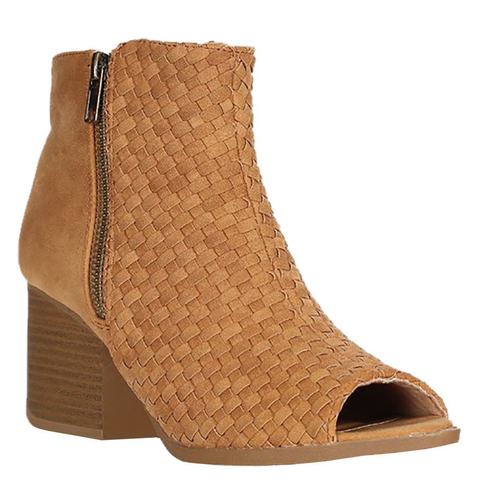 Women Cut Out Bootie Lace Up  Slip On High Heel Platform Wedge Ankle Bootie - Tan/5.5