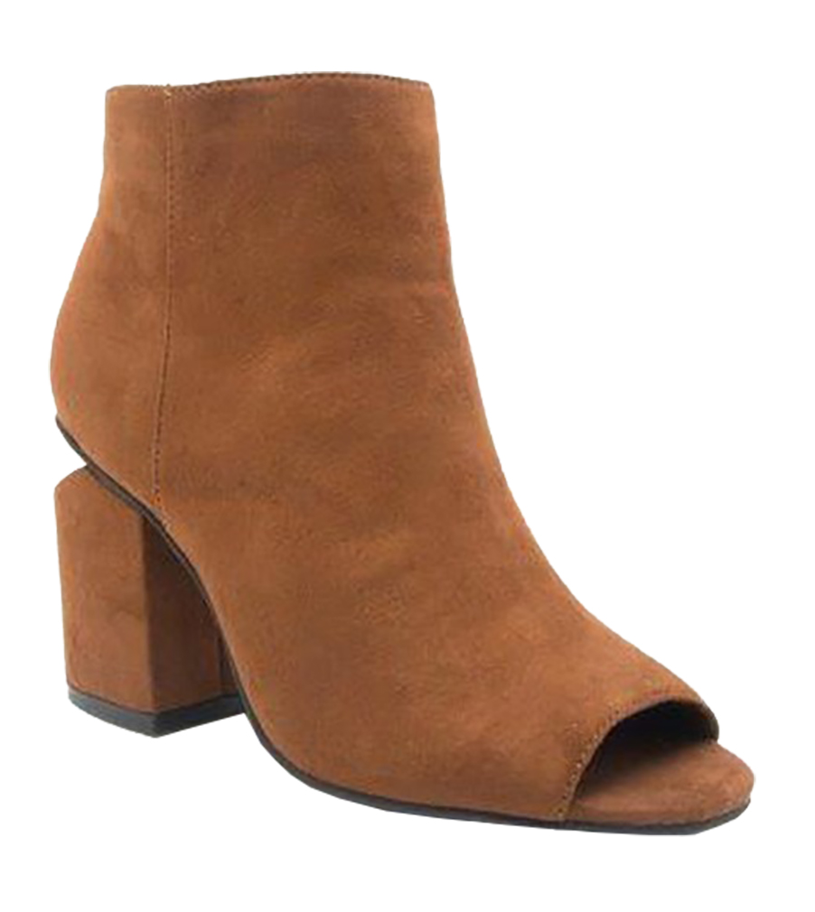 Women Cut Out Bootie Lace Up  Slip On High Heel Platform Wedge Ankle Bootie - Chest Nut/6