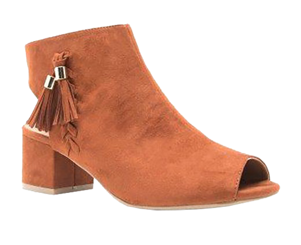 Women Cut Out Bootie Lace Up  Slip On High Heel Platform Wedge Ankle Bootie - Whiskey/6