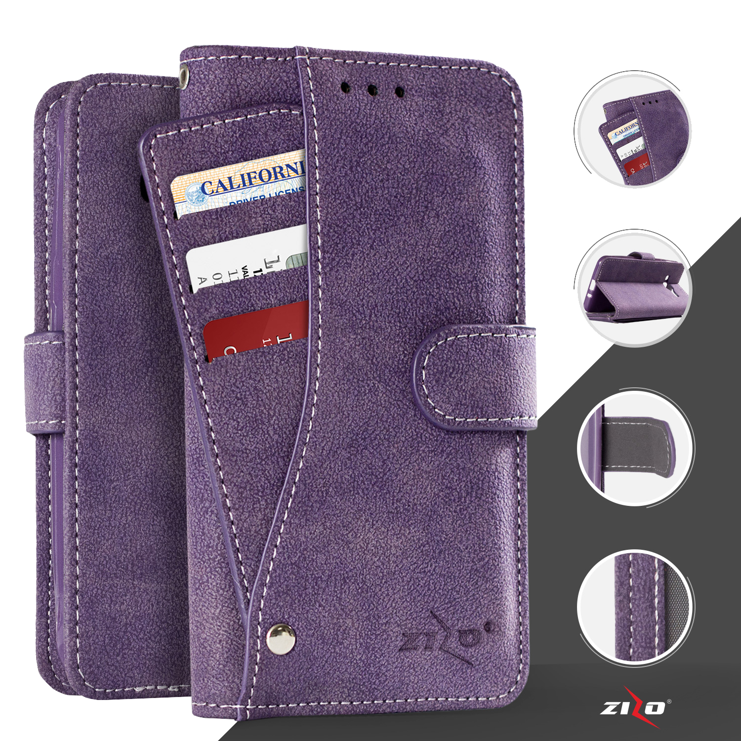 Samsung Galaxy S7 Suede Cellphone Wallet Case Slide Out Pocket and Kickstand Card ID Holder Durable Seams Magnetic Flap Closure- Purple