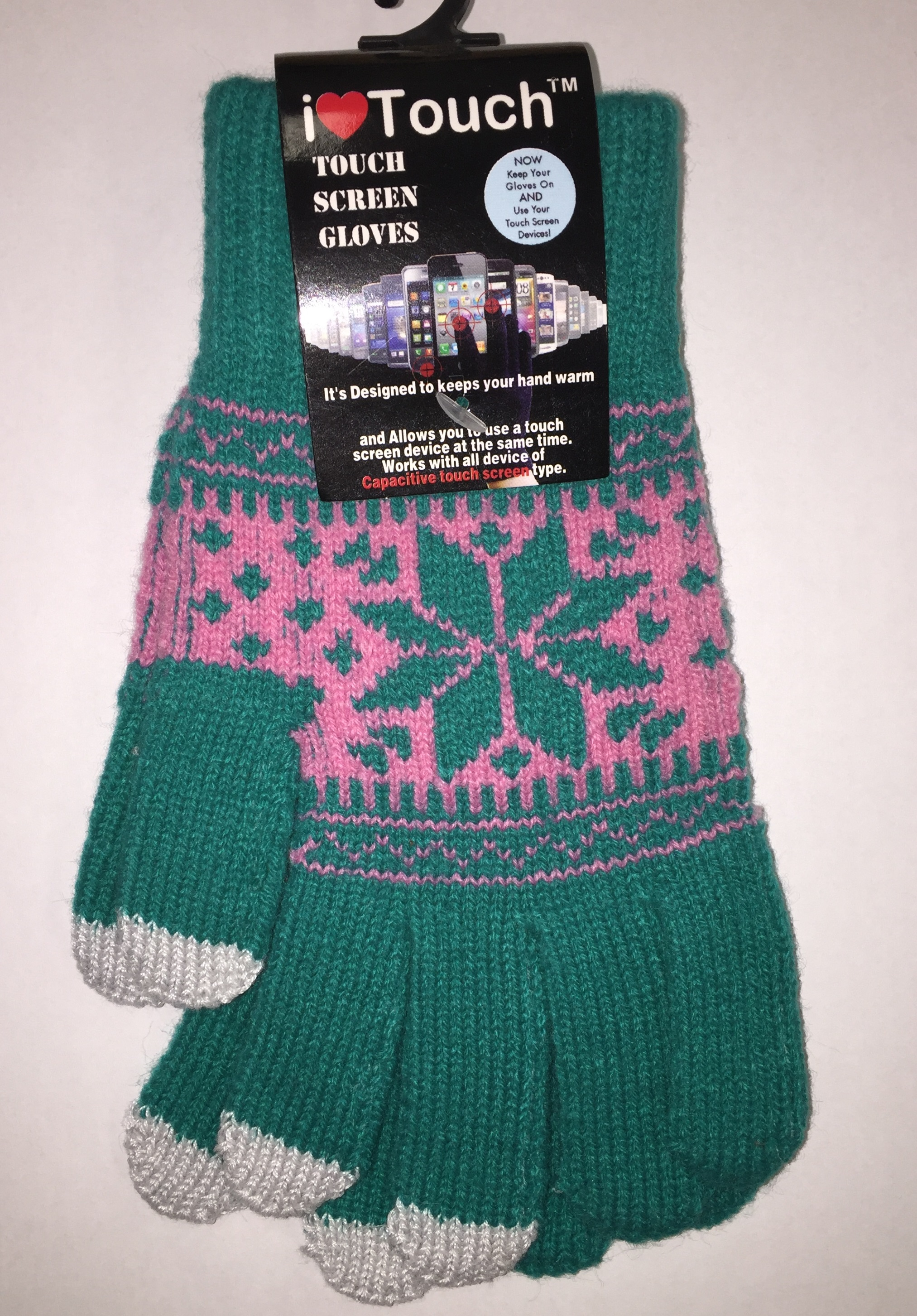 Belle Donne - Women's Touch Screen Gloves - Snow Flakes - Teal