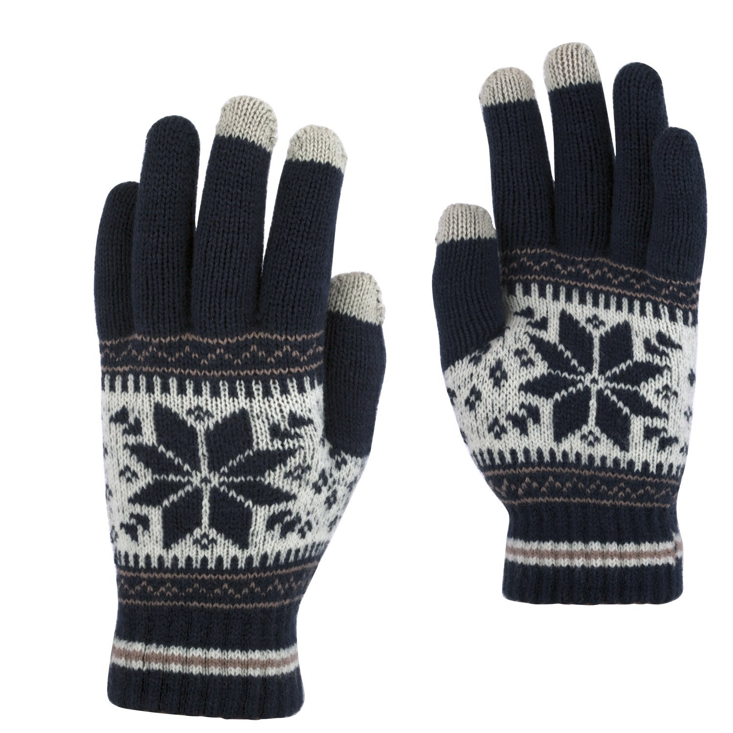Belle Donne - Women's Touch Screen Gloves - Snow Flakes - Navy