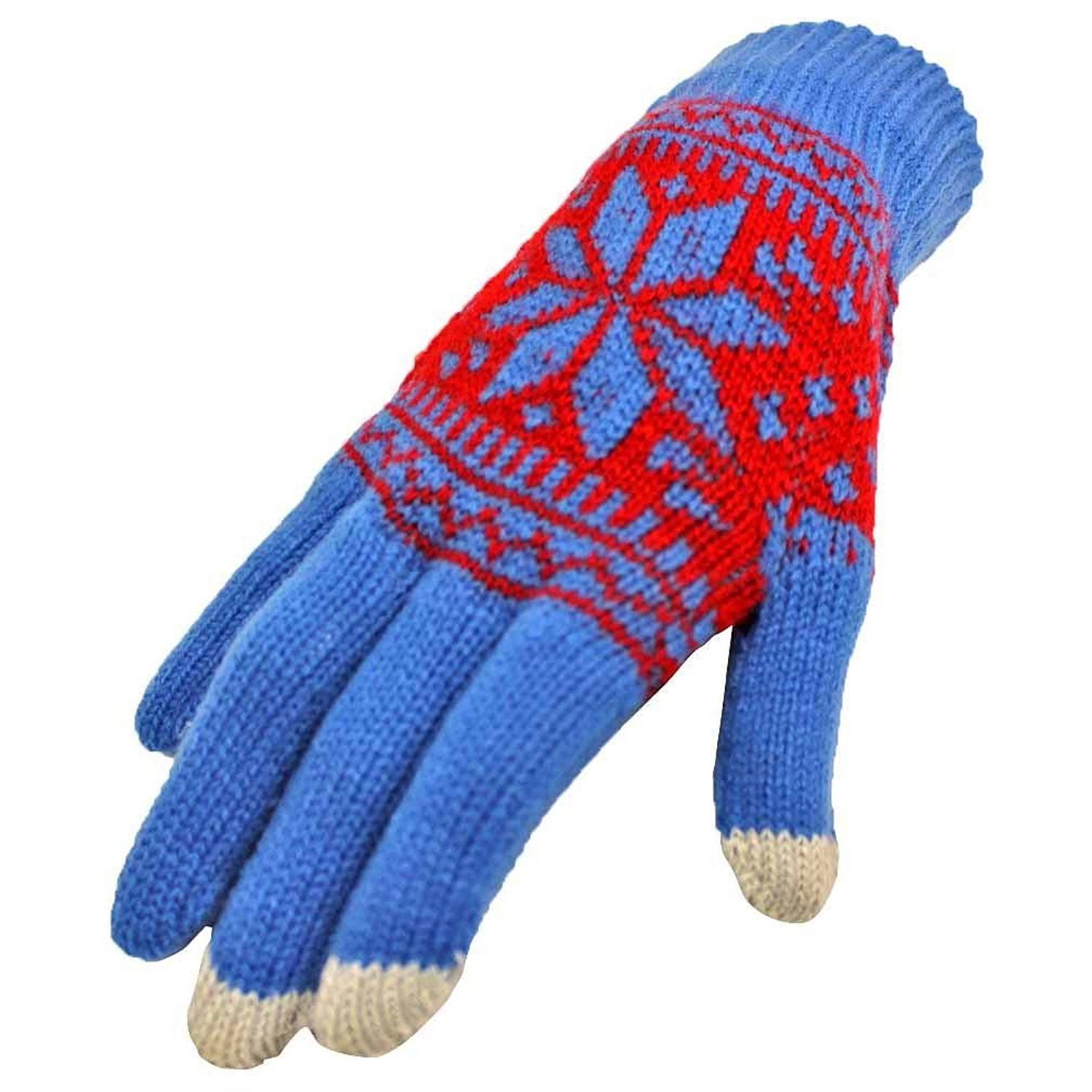 Belle Donne - Women's Touch Screen Gloves - Snow Flakes - BLUE