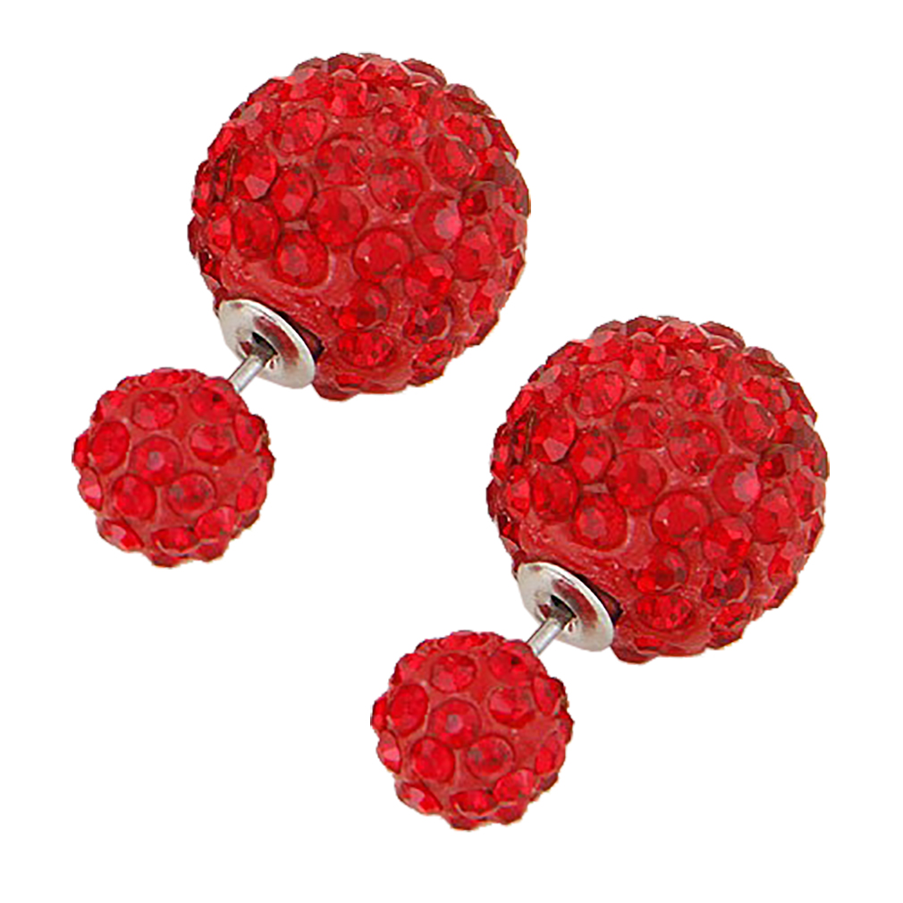 Belle Donne Colorful Womens Double Ball Earrings Crystal Ball Stud Earrings Set - Red-Twin Balls