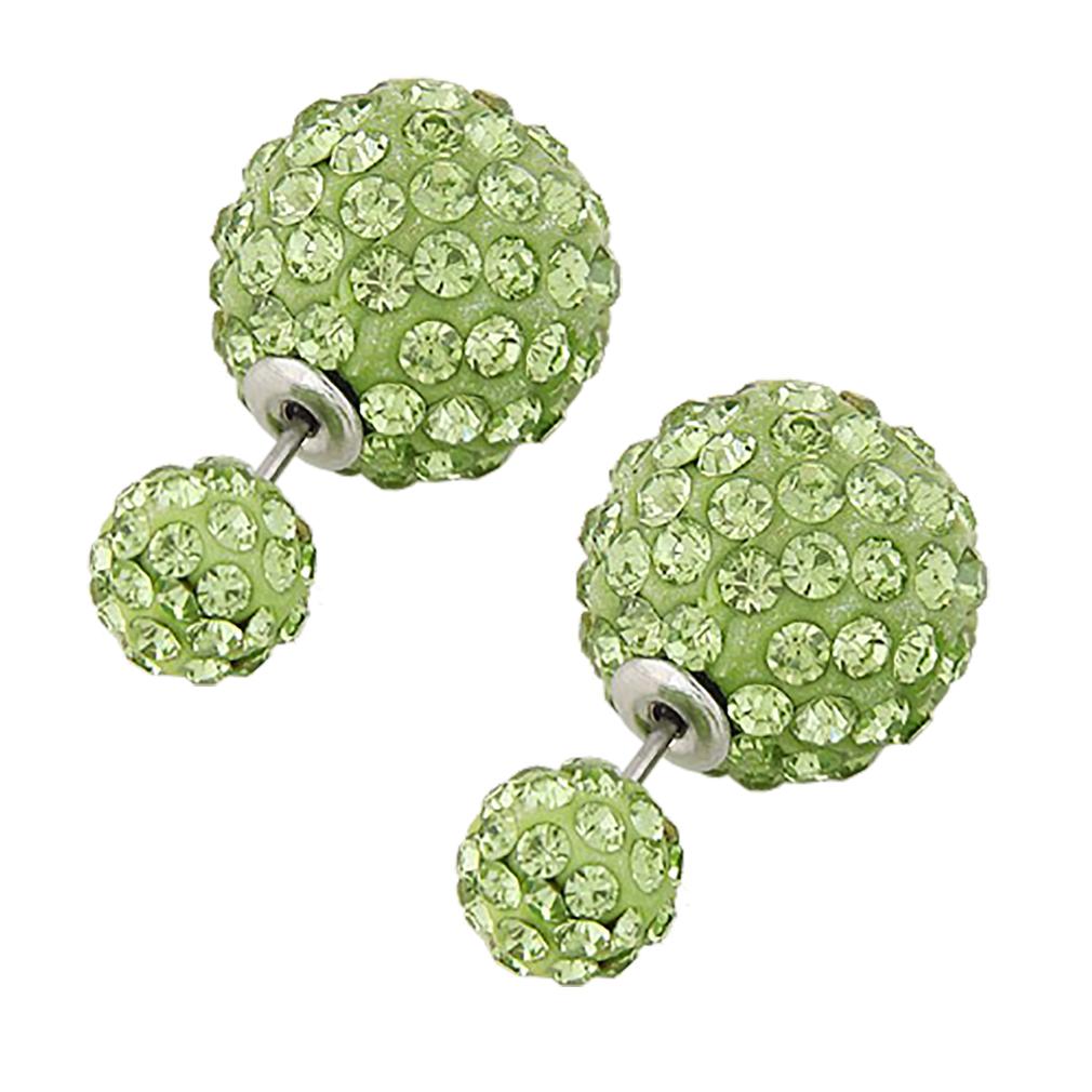 Belle Donne Colorful Womens Double Ball Earrings Crystal Ball Stud Earrings Set - Green