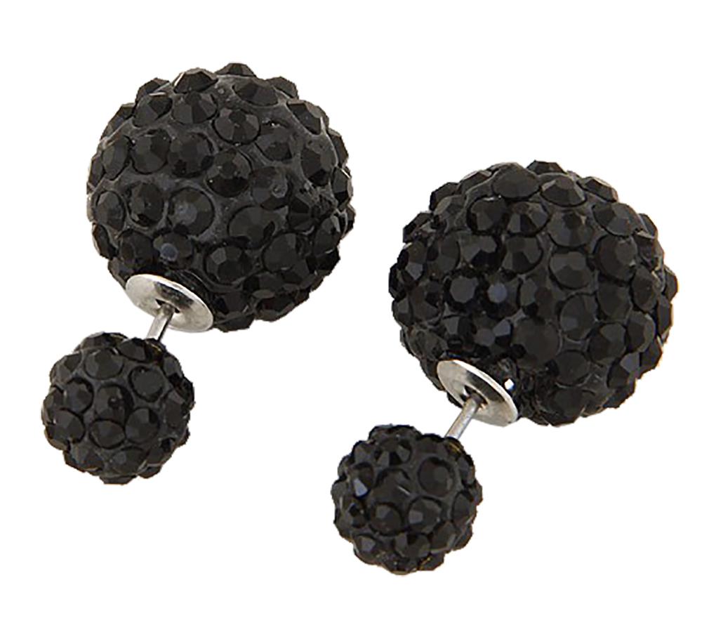 Belle Donne Colorful Womens Double Ball Earrings Crystal Ball Stud Earrings Set - Black-II