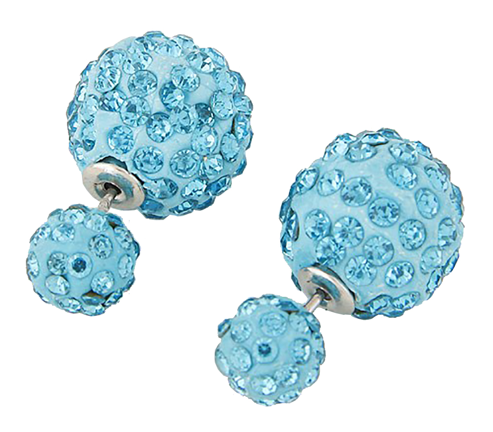 Belle Donne Colorful Womens Double Ball Earrings Crystal Ball Stud Earrings Set - Sky Blue