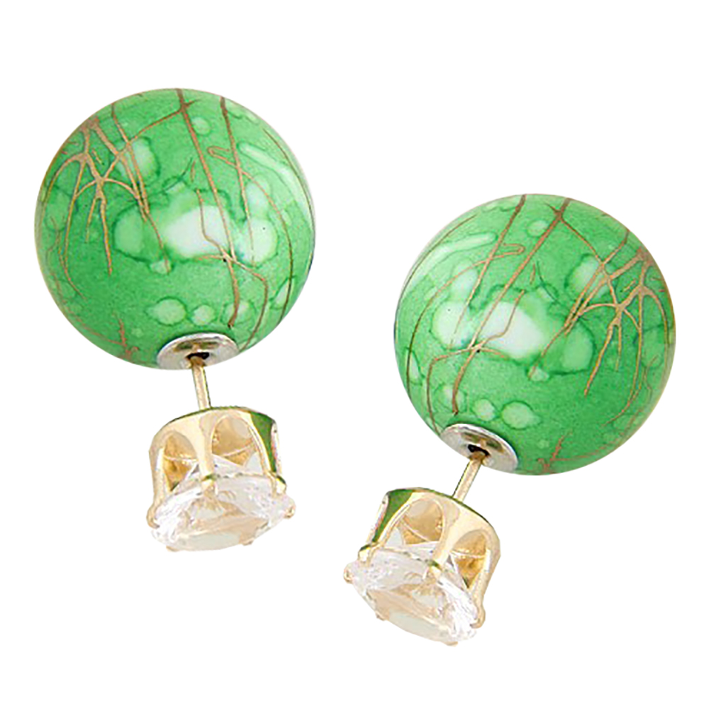 Belle Donne Colorful Womens Double Ball Earrings Crystal Ball Stud Earrings Set - Green-TEXTURE