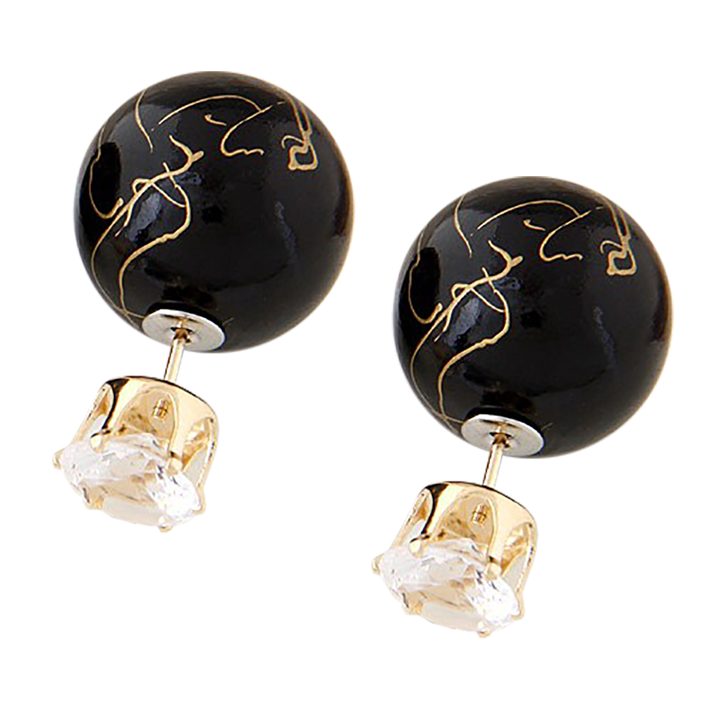Belle Donne Colorful Womens Double Ball Earrings Crystal Ball Stud Earrings Set - Black-I