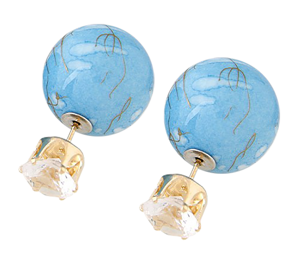 Belle Donne Colorful Womens Double Ball Earrings Crystal Ball Stud Earrings Set - Blue-Texture