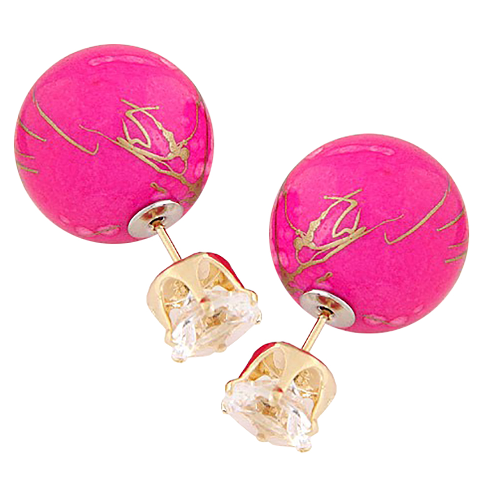 Belle Donne Colorful Womens Double Ball Earrings Crystal Ball Stud Earrings Set - Rose-Twin Balls