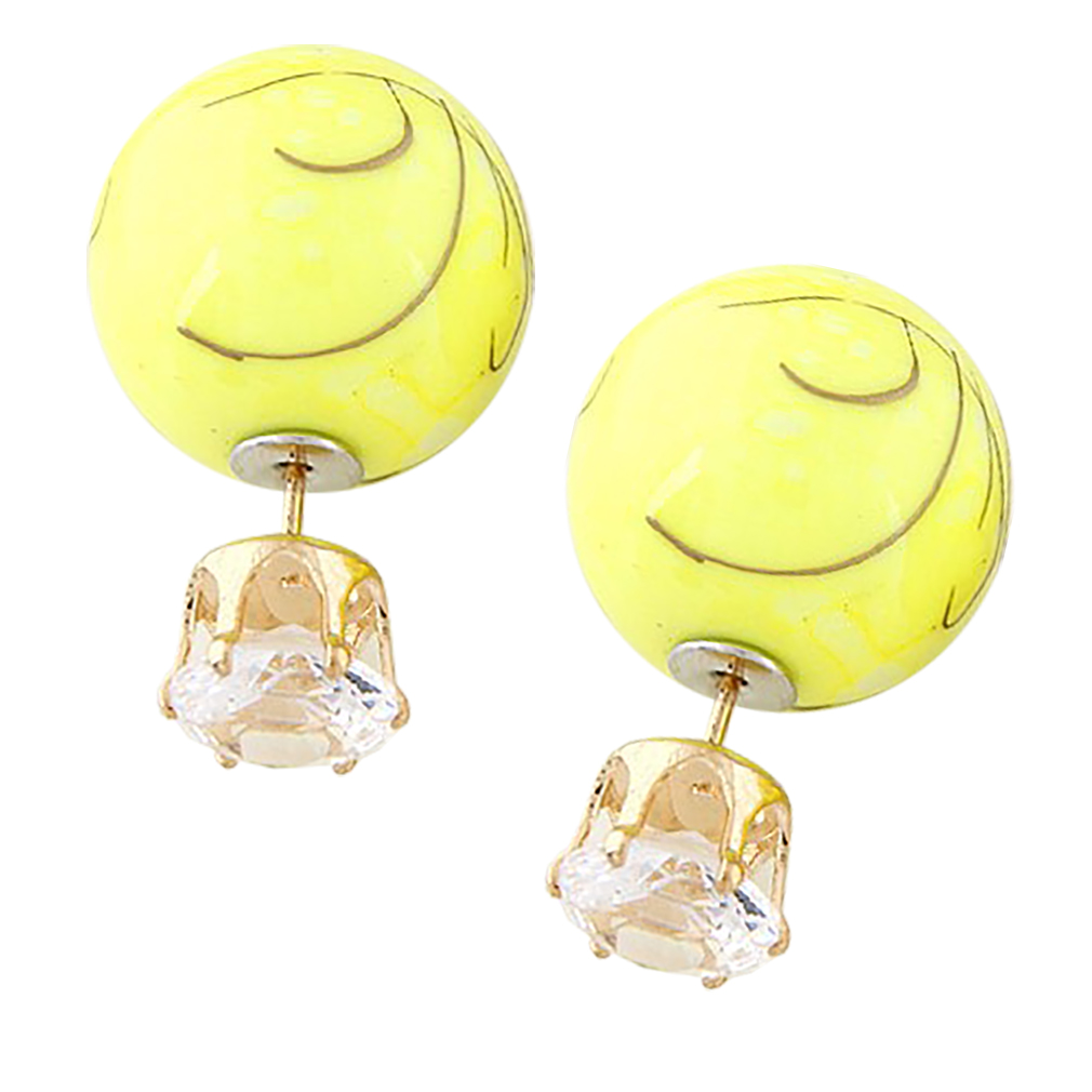 Belle Donne Colorful Womens Double Ball Earrings Crystal Ball Stud Earrings Set - Yellow-Texture