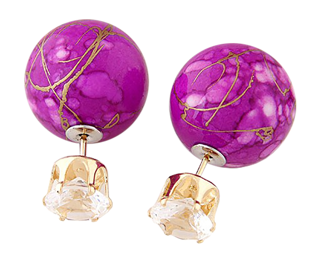 Belle Donne Colorful Womens Double Ball Earrings Crystal Ball Stud Earrings Set - Violet-Texture