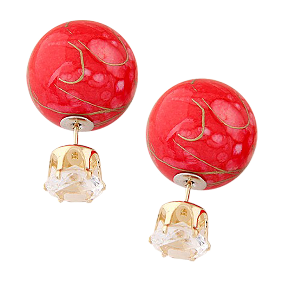 Belle Donne Colorful Womens Double Ball Earrings Crystal Ball Stud Earrings Set - Red-Rhinestones