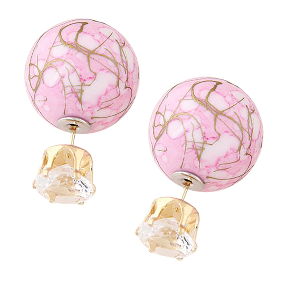 Belle Donne Colorful Womens Double Ball Earrings Crystal Ball Stud Earrings Set - Pink-Texture