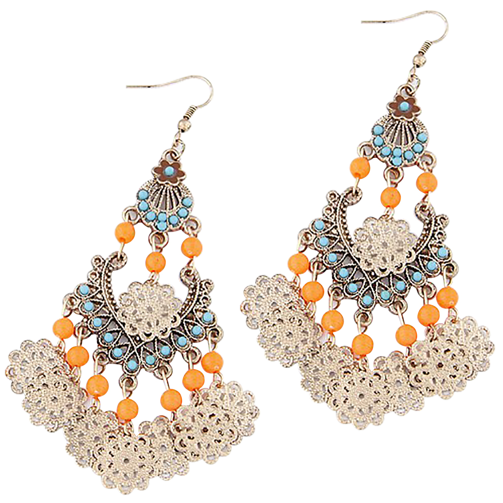 Belle Donne - Womens Vintage Earrings Silver Opals Studded Ladies Earring Set Classic Drop and Dangle Detailed Designs Fine Jewelry - Orange-Bohemian