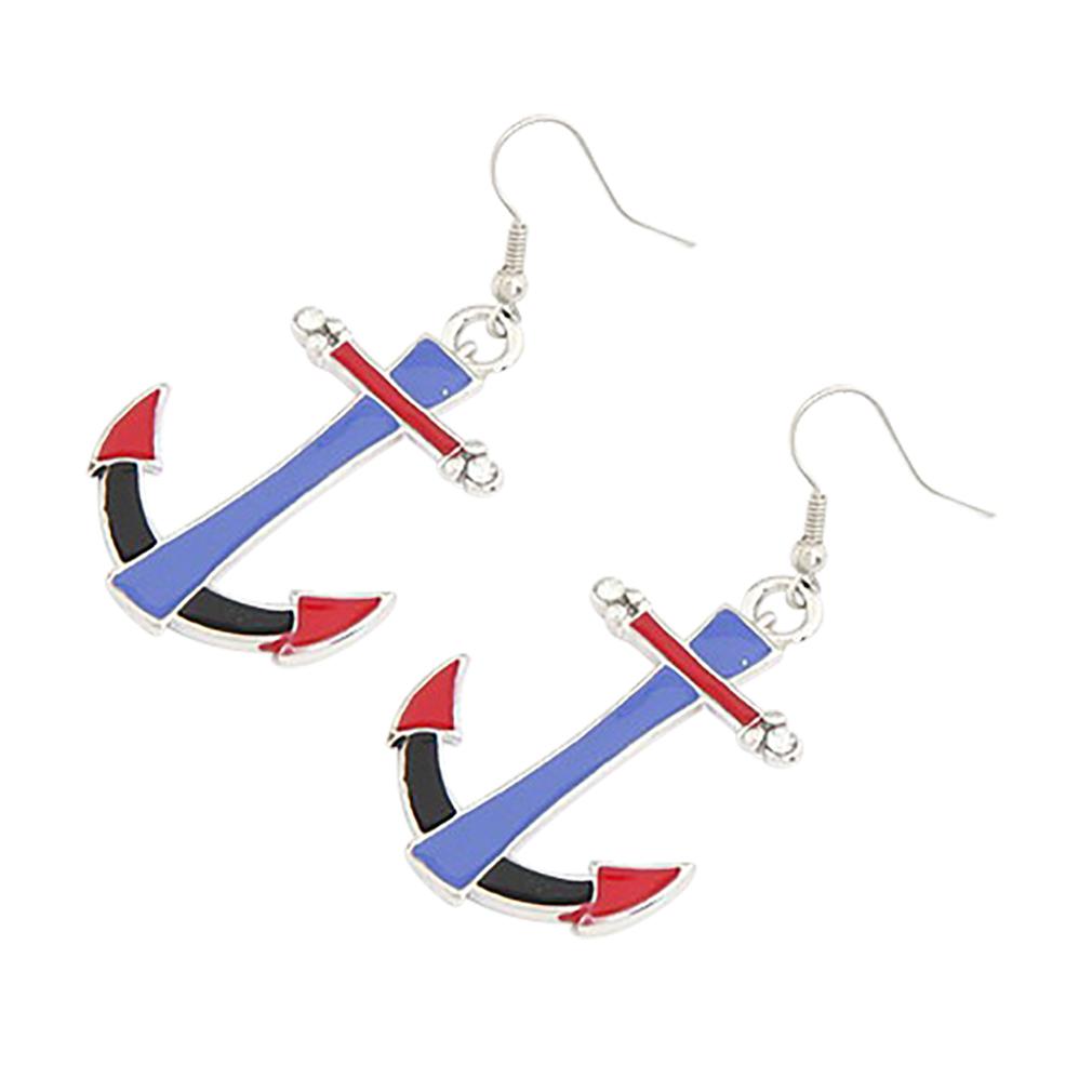 Belle Donne - Womens Classy Earrings Dangle Ladies Earrings Boat Anchor Earring Set Women Ear Jewelry - Silver-Anchor