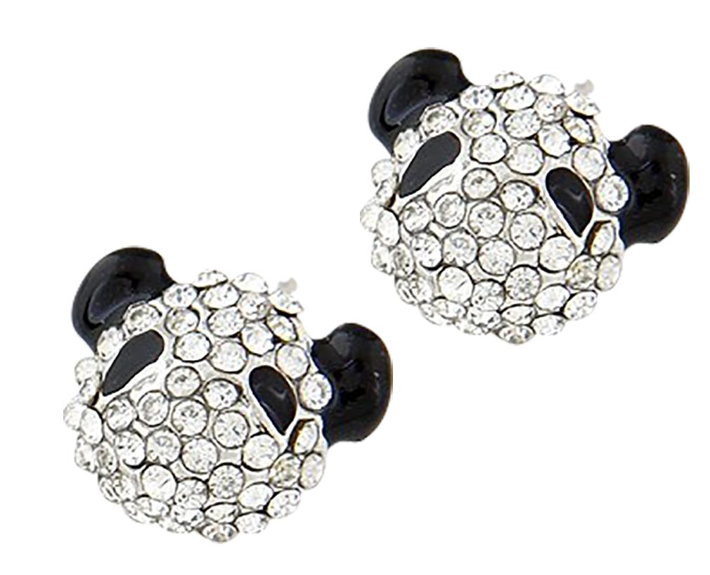 Belle Donne - Korean Fashion Lovely Rhinestone Panda Ear Studs