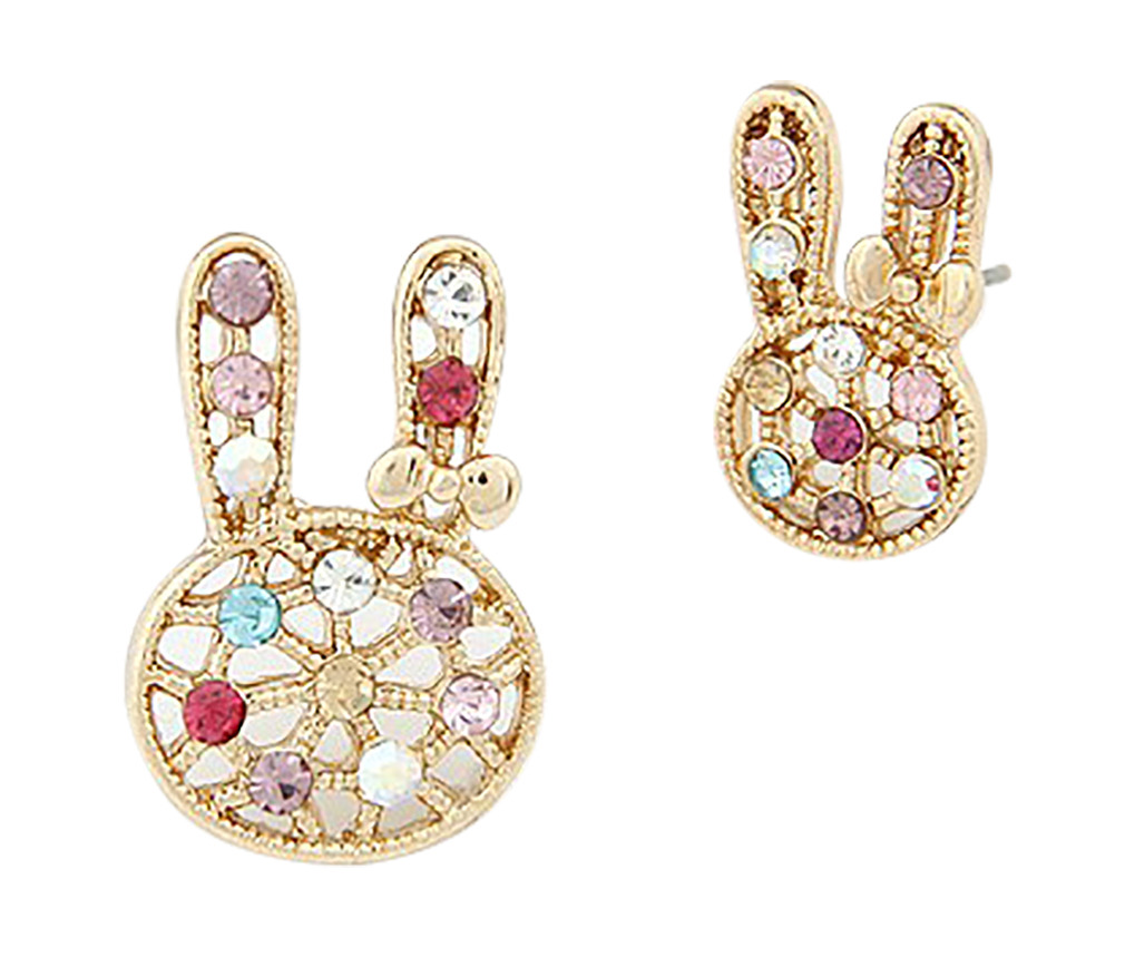 Belle Donne - Korean Style Golden Hollow-out Czech Stones Decorated Bunny Ear Studs