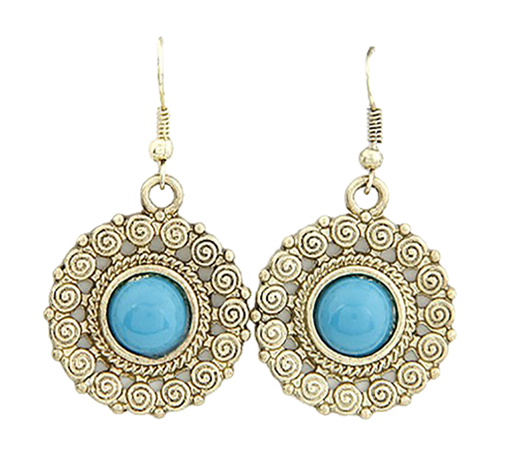 Belle Donne - Womens Vintage Earrings Silver Opals Studded Ladies Earring Set Classic Drop and Dangle Detailed Designs Fine Jewelry Round Blue Stone  - Golden-Gem
