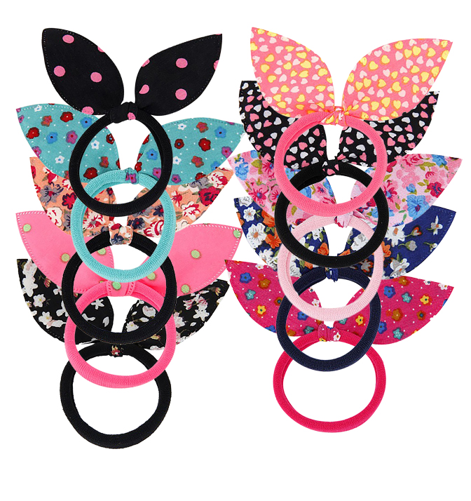 Belle Donne Cute Girls Rabbit Ear Hair Tie Bands Toddler Ponytail Holder 10 Pack