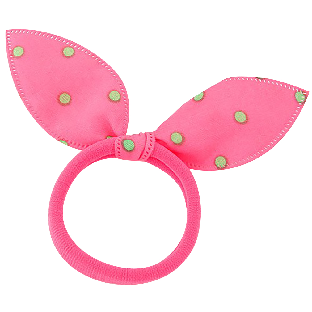 Belle Donne - Polka Dot Bunny Ears Hair Band - Kids Hair Bands, Toddler Hair Ties - Cute Hair Tie Set - Hair Band Bracelet - Rabbit Ears - Pink