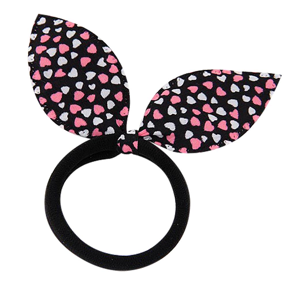 Belle Donne - Hearts Bunny Ears Hair Band - Kids Hair Bands, Toddler Hair Ties - Cute Hair Tie Set - Hair Band Bracelet - Rabbit Ears - Black and Pink