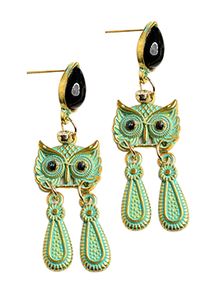 Belle Donne - Owl Shape Gem Drop Earrings/12Pcs