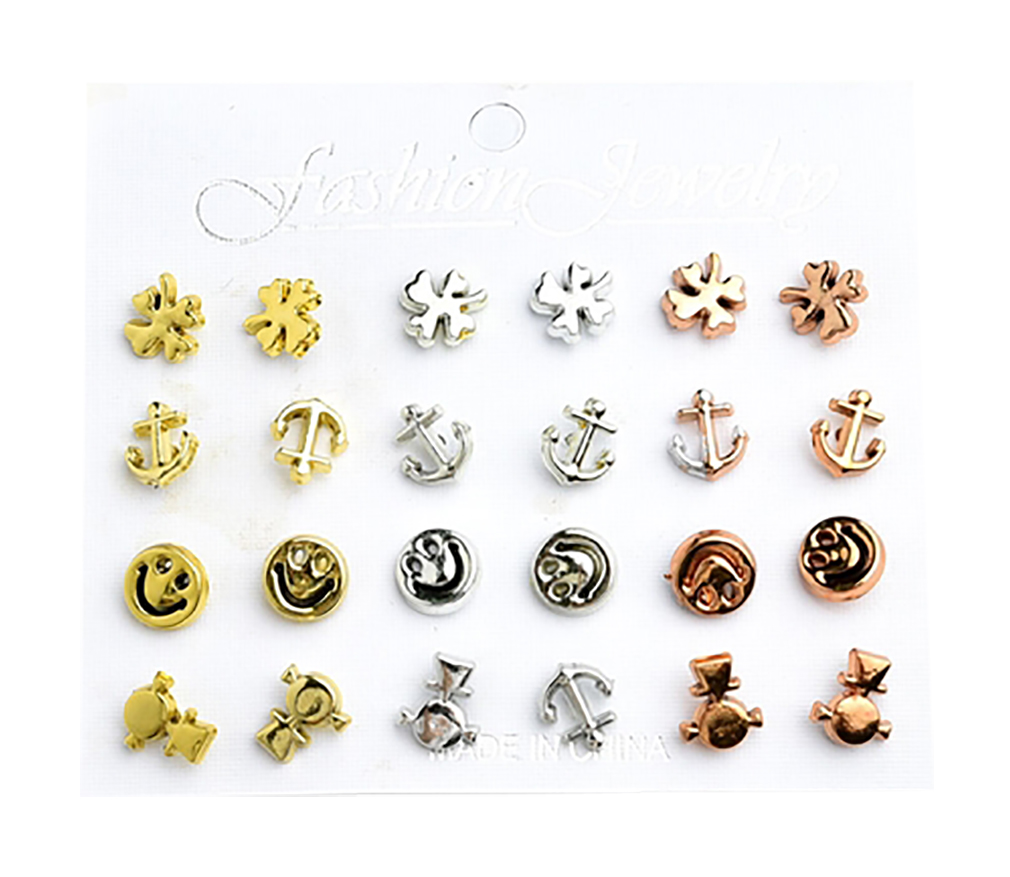 Belle Donne - Multi Shape Girl Earrings/12 Pairs