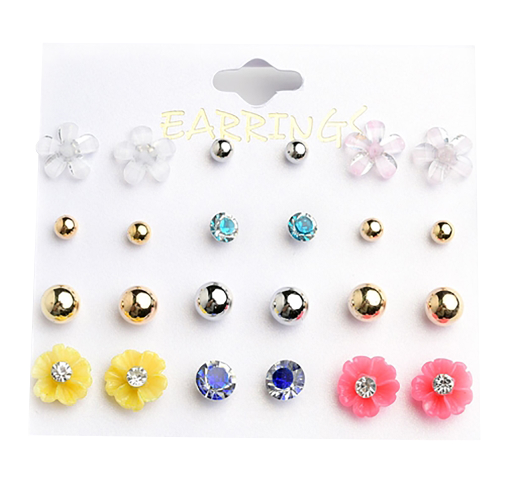 Belle Donne - Flower Shape & Pearl Earrings /12Pcs