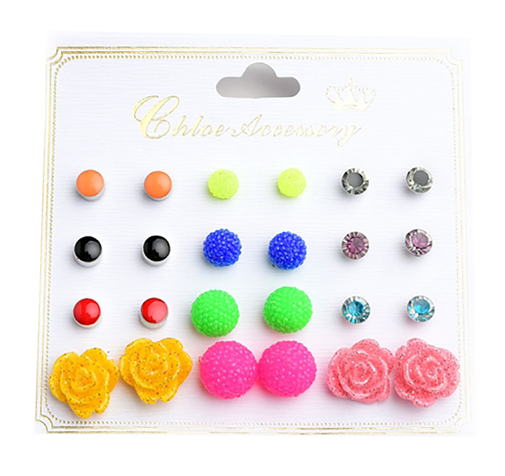Belle Donne - Flower Shape Multi Gem & Stone Earrings /12Pcs