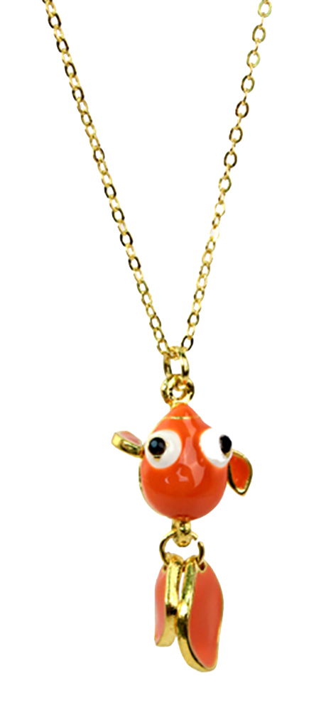 Belle Donne Thin Necklace With Bubble Eyes Small Fish Pendant 1937