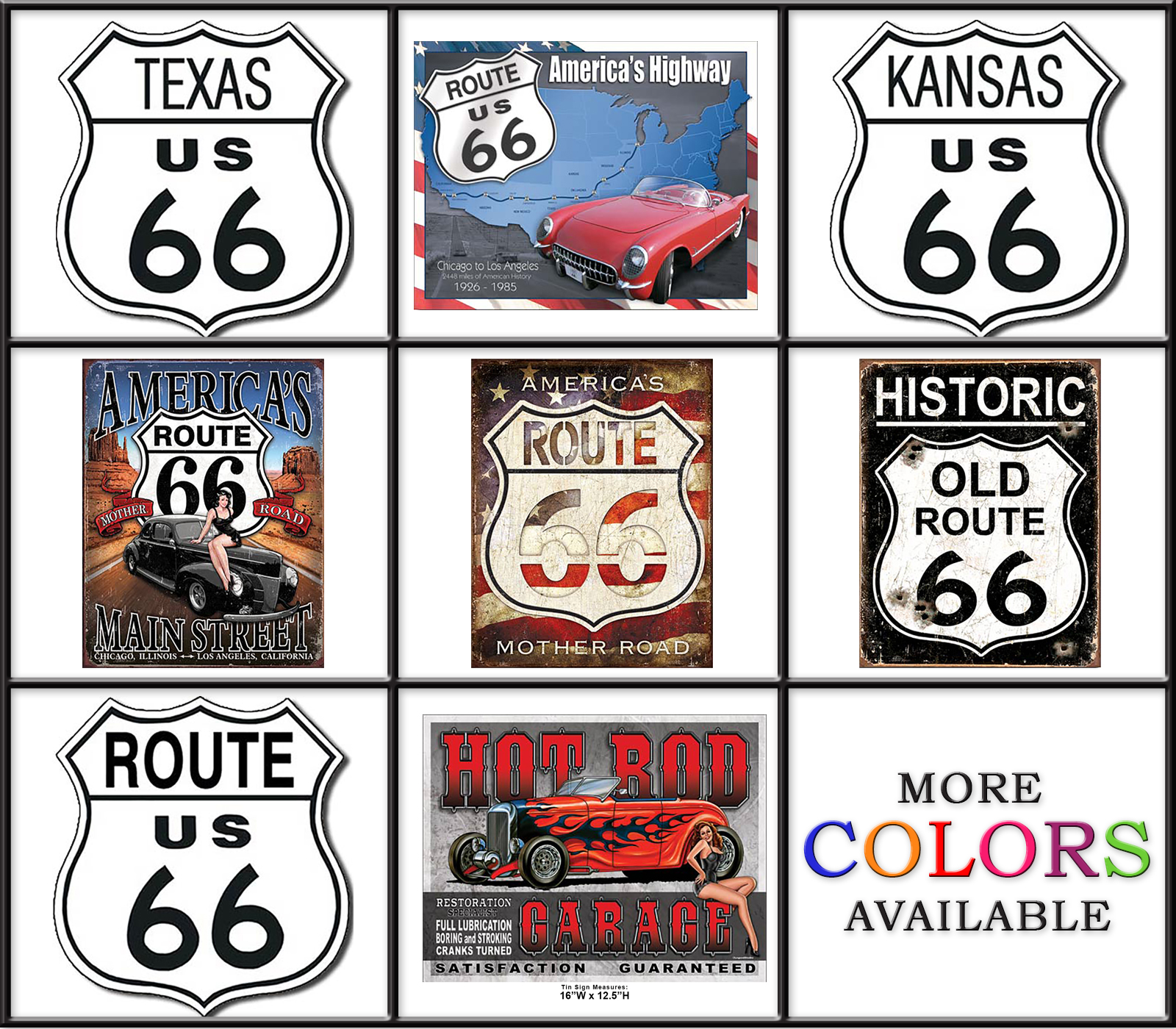 Shop72 - Historical Route 66 Tin Sign Retro Vintage With Sticky Stripe