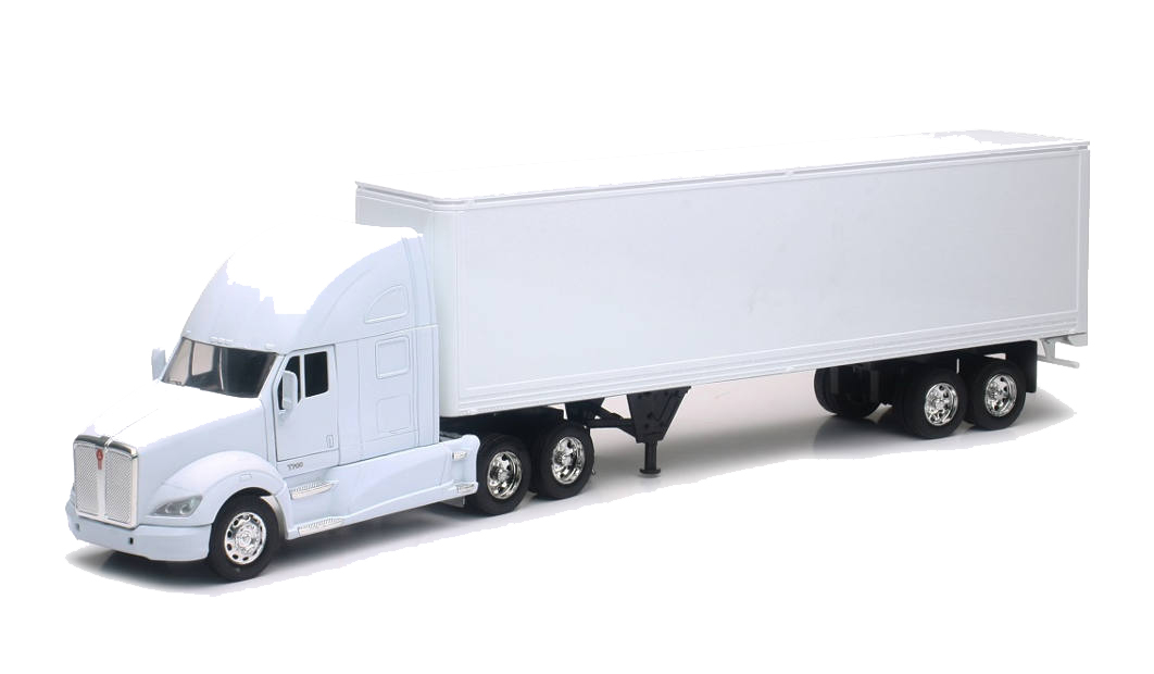 Personalized This Diecast White Blank Truck 1:32 Scale Kenworth T700 Truck W/ Dry Van Trailer - White