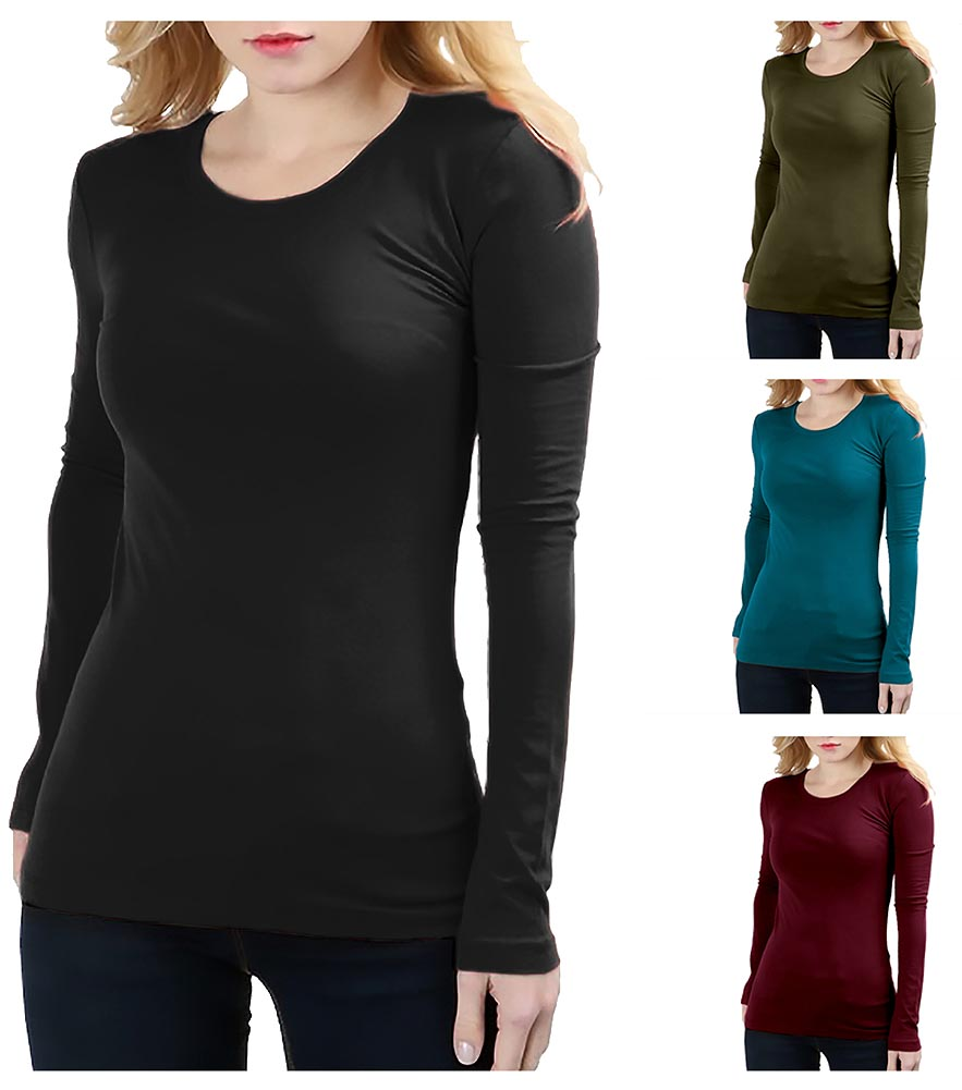 Belle Donne - Basic Crew Neck Long Sleeve Tee - Plus or Regular - Solid Colors