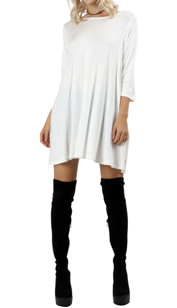 Belle Donne Short Dress With Long Sleeves Loose Tunic Style With Mock Neck - Ivory/Small