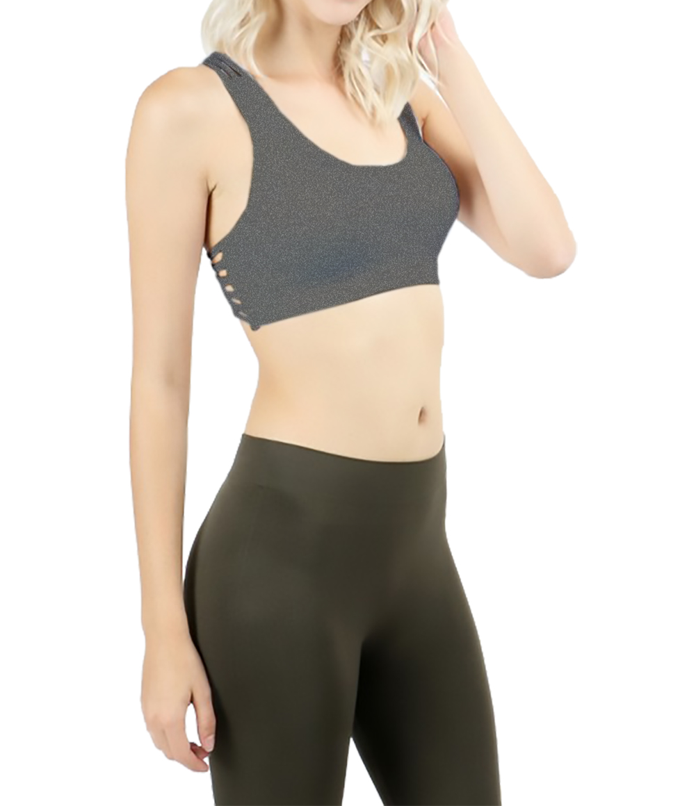 Belle Donne - Women Sports Bra Low Impact Strappy Back Design with O Ring Accent - Charcoal/