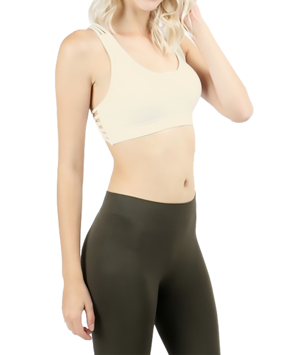 Belle Donne - Women Sports Bra Low Impact Strappy Back Design with O Ring Accent - Taupe/