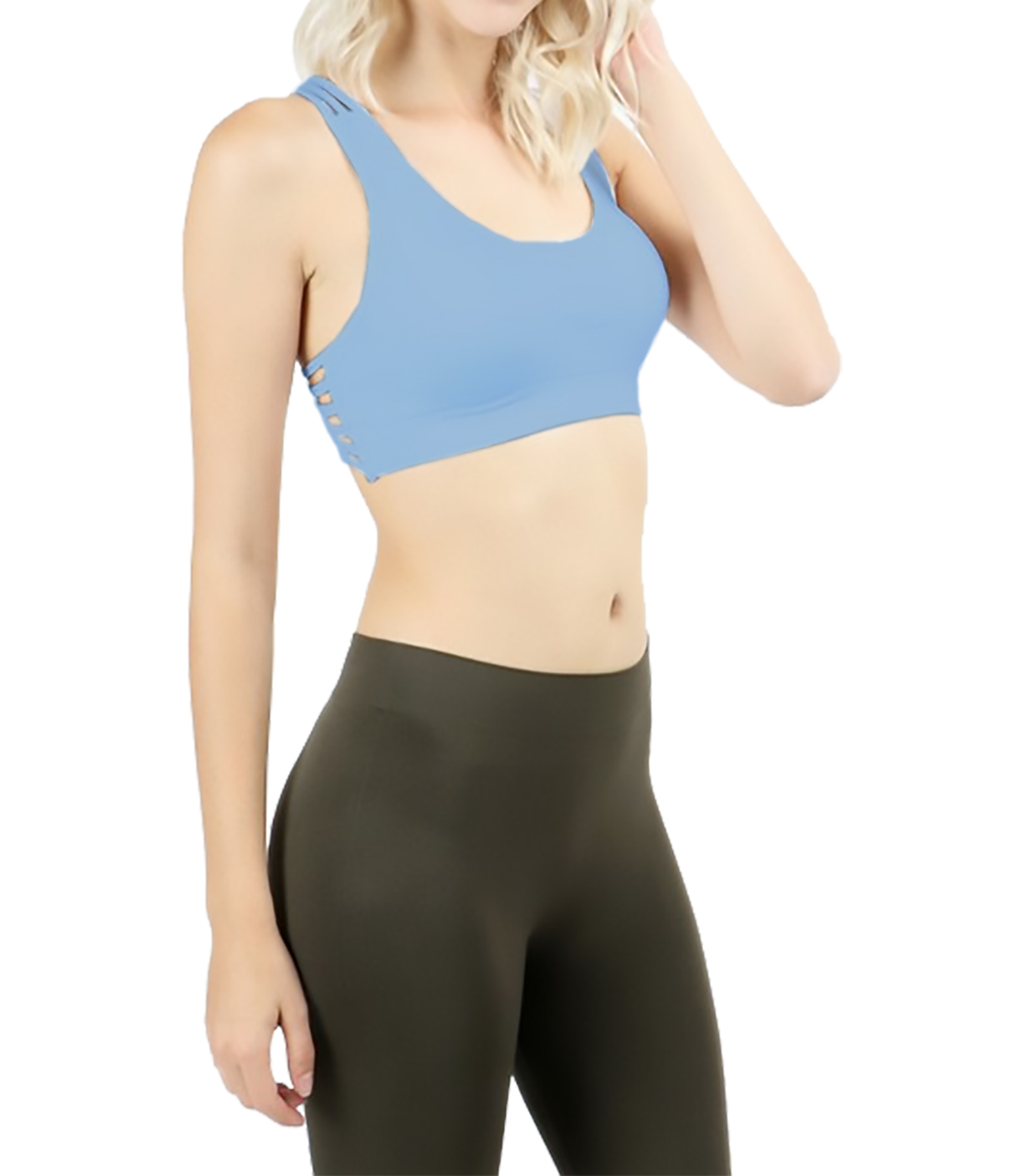 Belle Donne - Women Sports Bra Low Impact Strappy Back Design with O Ring Accent - Ocean Blue/