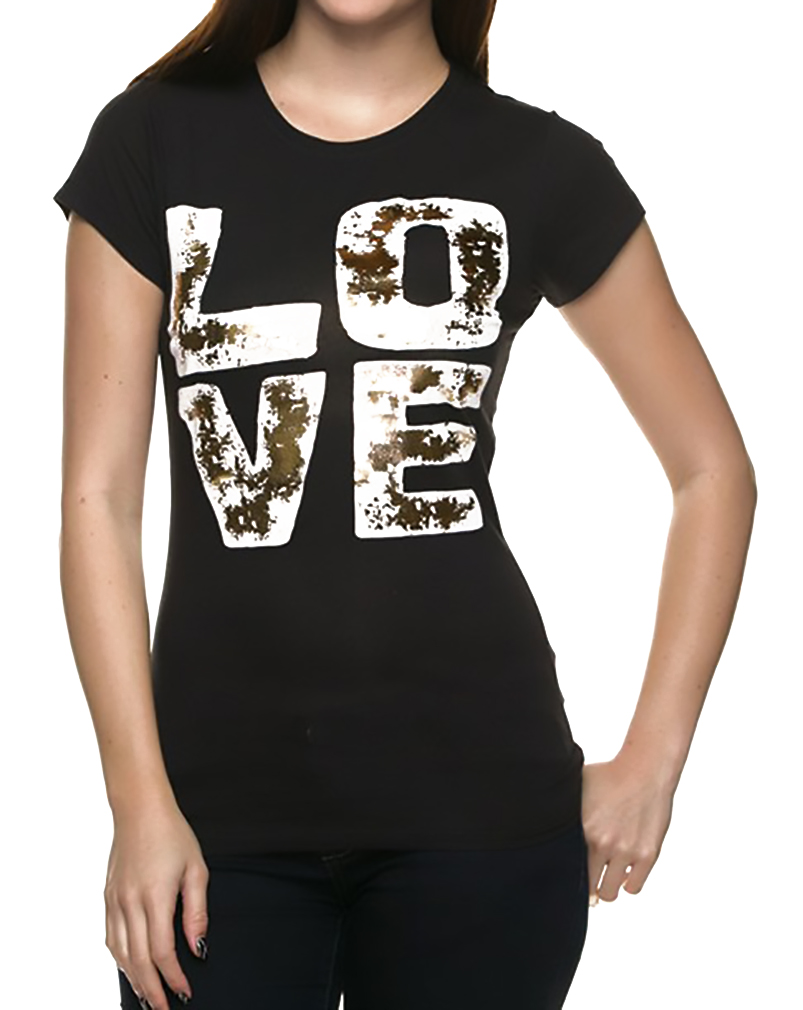 Belle Donne - Women's Graphic Tees Stylish Printed Short Sleeve Girl T Shirts - Black/Small