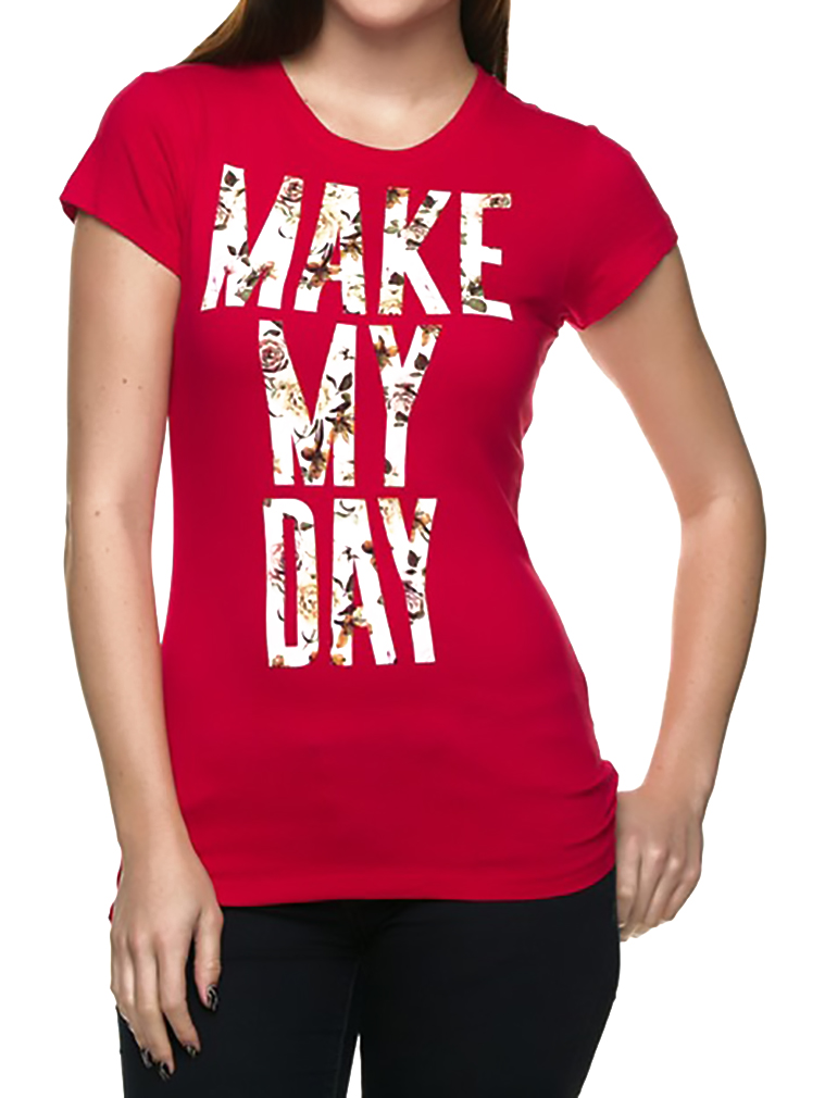 b37e0f4d Belle Donne - Women's Graphic Tees Stylish Printed Short Sleeve Girl T  Shirts - Red/