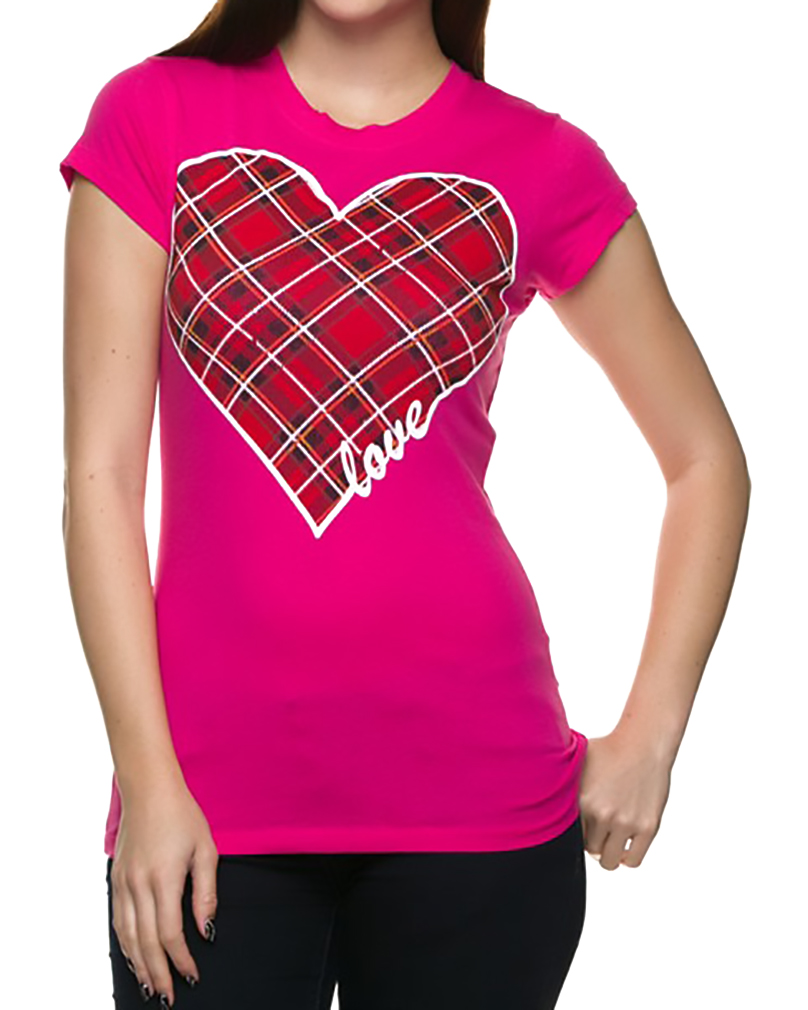 Belle Donne - Women's Graphic Tees Stylish Printed Short Sleeve Girl T Shirts - Fuchsia/Small