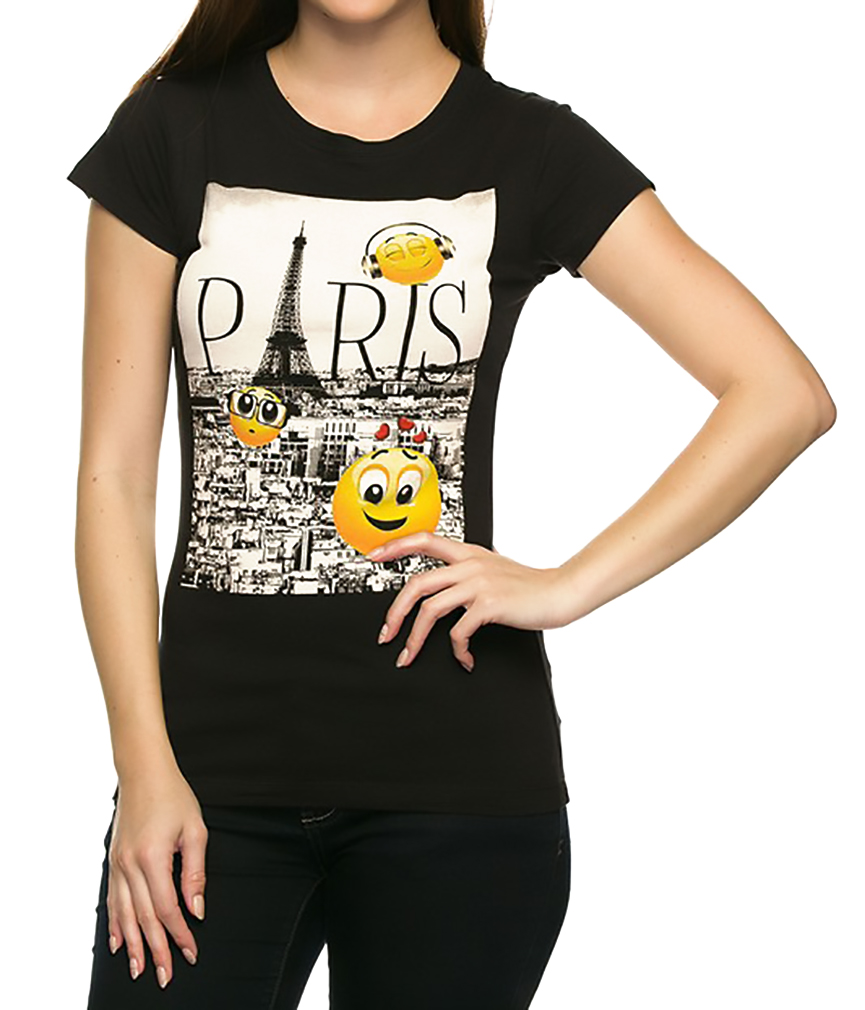 Belle Donne - Women's Graphic Tees Stylish Printed Short Sleeve Girl T Shirts - Black/Medium