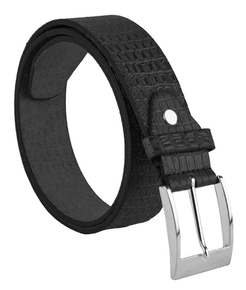 "Moda Di Raza Men's 1.5"" Classic PU Leather Dress Belt Square Polished Buckle - Black Medium"