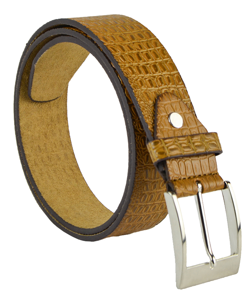 "Moda Di Raza Men's 1.5"" Classic PU Leather Dress Belt Square Polished Buckle - Tan Medium"