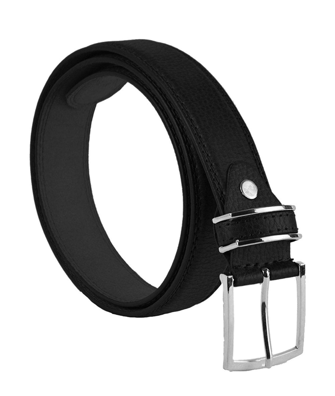 "Moda Di Raza Men's 1.5"" Classic PU Leather Dress Belt Square Polished Buckle - Black Small"