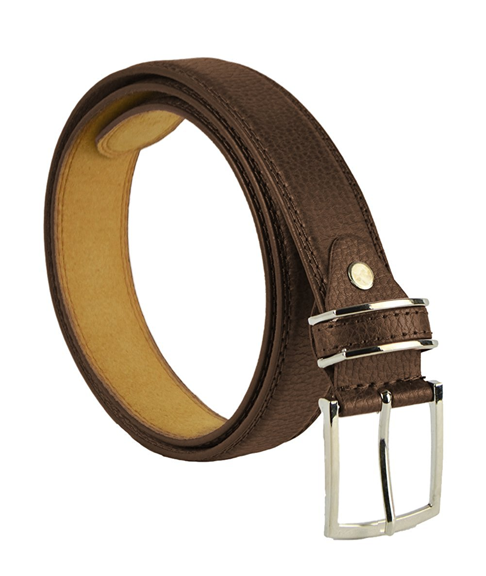 "Moda Di Raza Men's 1.5"" Classic PU Leather Dress Belt Square Polished Buckle - Brown Small"
