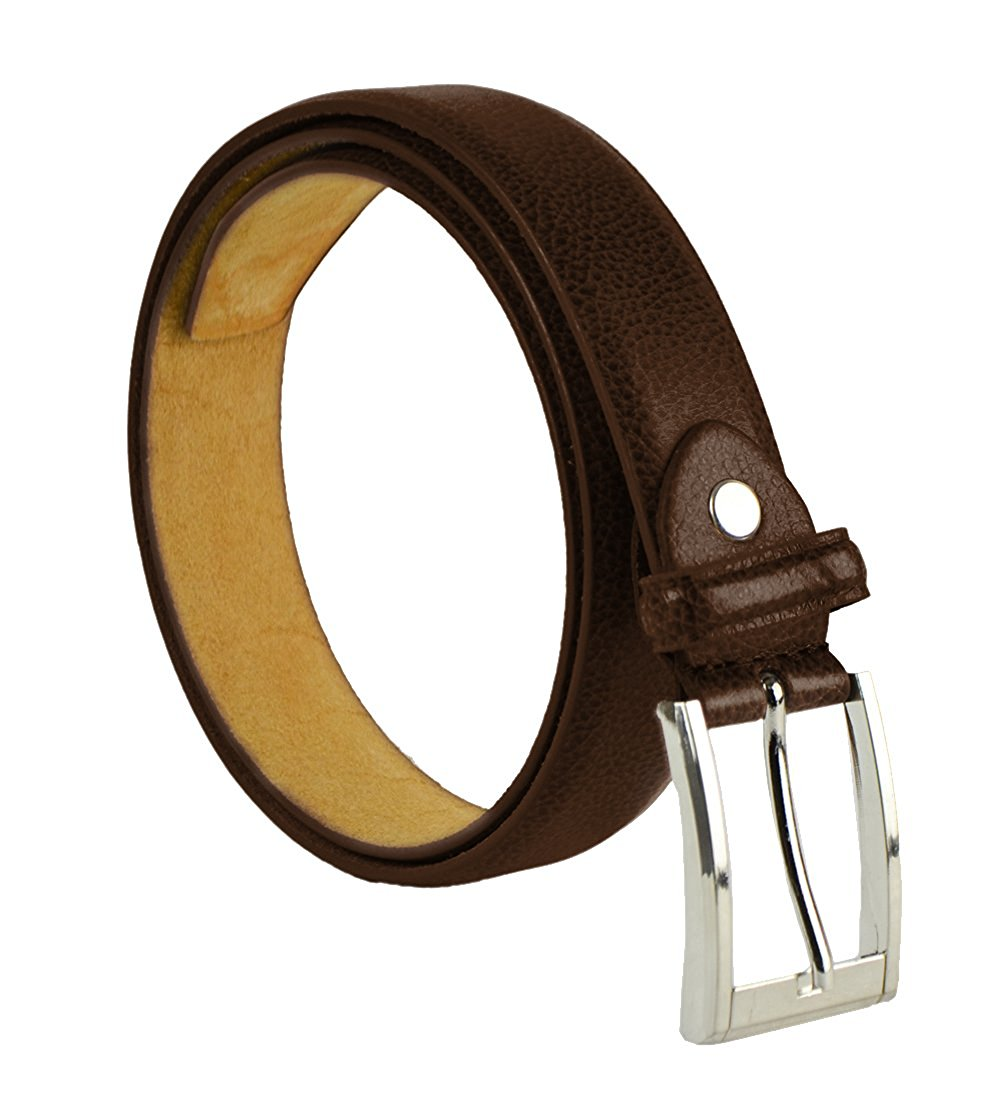 "Moda Di Raza Men's 1.5"" Classic PU Leather Dress Belt Square Polished Buckle - Brown Medium"