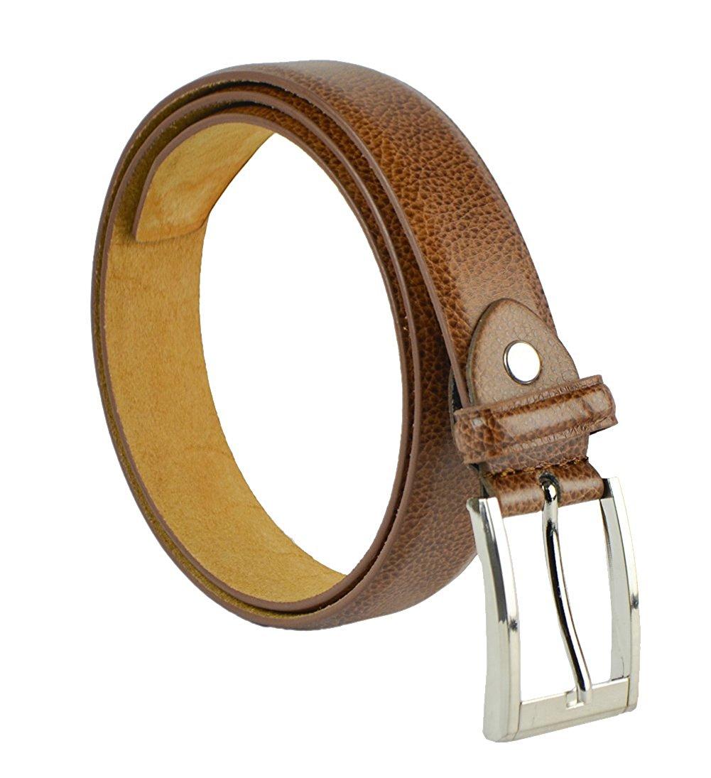 "Moda Di Raza Men's 1.5"" Classic PU Leather Dress Belt Square Polished Buckle - Tan Medium"